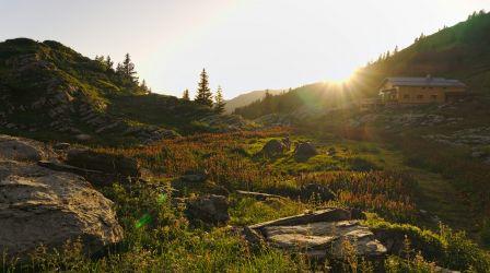 coucher de soleil vers le refuge